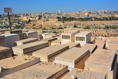 橄榄挂接的犹太墓地 免版税库存照片
