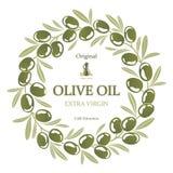 绿橄榄橄榄油花圈的标签  库存例证