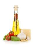 橄榄油、蔬菜和巴马干酪 免版税库存照片