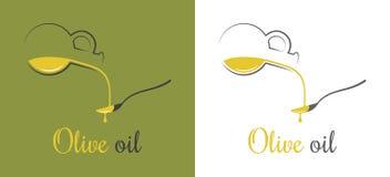 橄榄油下落 在匙子设计背景的倾吐的油 皇族释放例证