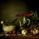 橄榄油和调味料食物 免版税库存照片