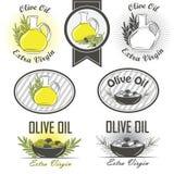 橄榄油标签和设计元素 免版税图库摄影