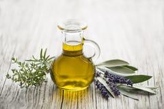 橄榄油用新鲜的草本 库存图片