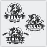 橄榄球、棒球和曲棍球商标和标签 与公牛的体育俱乐部象征 免版税库存图片