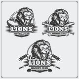 橄榄球、棒球和曲棍球商标和标签 与狮子头的体育俱乐部象征  库存照片