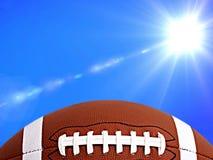 橄榄球、美式足球和晴朗的天气在背景中 库存例证