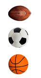 橄榄球、Soccerball和篮球 库存照片