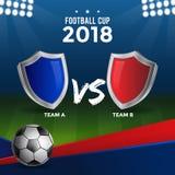 橄榄球与不同的参赛队盾的杯设计  免版税库存图片