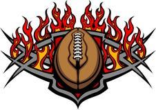 橄榄球与火焰图象的球模板 免版税库存照片