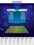 橄榄球世界冠军小组 传染媒介国旗 2018年足球世界比赛在俄罗斯 免版税库存图片