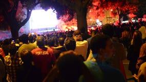橄榄球人群,里斯本,葡萄牙- UEFA欧锦赛决赛2016年 库存照片