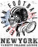 橄榄球体育印刷术;T恤杉图表;传染媒介 免版税库存照片