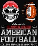 橄榄球体育印刷术;T恤杉图表;传染媒介 免版税图库摄影