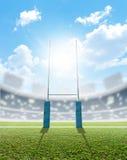 橄榄球体育场和岗位 图库摄影