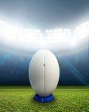 橄榄球体育场和球 免版税图库摄影