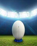 橄榄球体育场和球 免版税库存照片