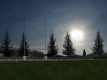 橄榄球体育场太阳 图库摄影