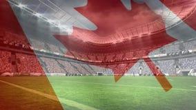 橄榄球体育场的构成有加拿大旗子的在透明度 向量例证