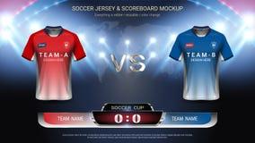 橄榄球体育比赛的杯子模板,足球球衣大模型和记分牌比赛对战略播放了图表模板 库存例证