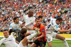 橄榄球俱乐部Shakhtar的Kryvtsov Serhiy防御者 免版税库存图片
