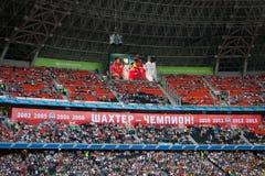 橄榄球俱乐部Shakhtar顿涅茨克爱好者 库存照片