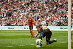橄榄球俱乐部Shakhtar顿涅茨克的Pyatov Andriy守门员 免版税图库摄影