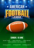 橄榄球同盟海报、横幅或者飞行物设计, footbal 向量例证