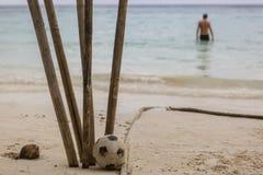 橄榄球在干竹子附近投入了 库存照片