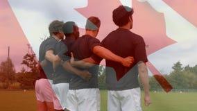 橄榄球在领域的队身分与一面加拿大旗子 皇族释放例证