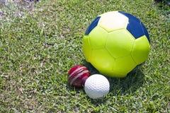 橄榄球在绿色象草的领域的蟋蟀和曲棍球球 免版税库存照片
