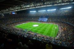 橄榄球场和观众在体育场诺坎普,巴塞罗那 库存图片