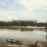橄榄球场在华沙波兰 库存图片
