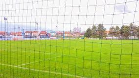 橄榄球场在Pozega,看法通过网 免版税库存照片