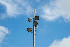 橄榄球场聚光灯 免版税库存图片