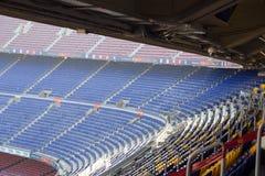 橄榄球场阵营Nou内部在巴塞罗那站立 免版税库存照片