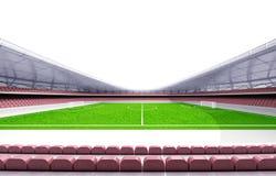 橄榄球场水平的视图有白色背景 库存例证