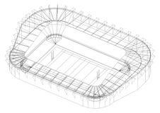 橄榄球场-被隔绝的建筑师图纸 皇族释放例证