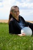 橄榄球女孩 库存照片
