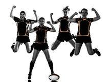 橄榄球妇女球员队剪影 免版税图库摄影