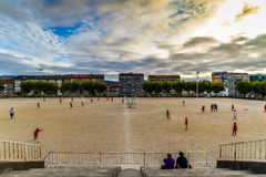 橄榄球实践在比戈-西班牙 库存图片