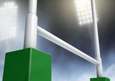 橄榄球张贴体育场夜 免版税库存照片