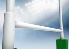 橄榄球张贴体育场夜 免版税图库摄影