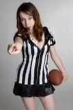 橄榄球性感的妇女 图库摄影