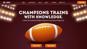 橄榄球拥护训练和知识概念,橄榄球球的例证在夜体育场背景的 敏感登陆的页或 库存例证