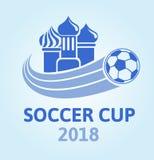 橄榄球杯子的商标2018年 足球冠军 教会圆顶和球 也corel凹道例证向量 库存例证