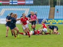 橄榄球欧洲妇女Sevens 免版税图库摄影