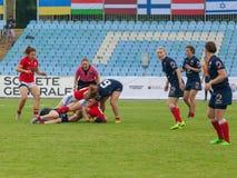 橄榄球欧洲妇女Sevens 免版税库存图片