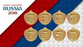 橄榄球比赛俄罗斯2018个小组 与cou的设计模板 库存例证