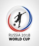 橄榄球比赛2018年,橄榄球,足球在俄罗斯2018圆的传染媒介商标的世界杯 免版税库存照片