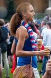 橄榄球法国俏丽的支持者  免版税图库摄影